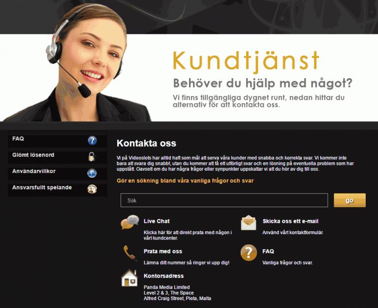 VideoSlots Casino Kundtjänst